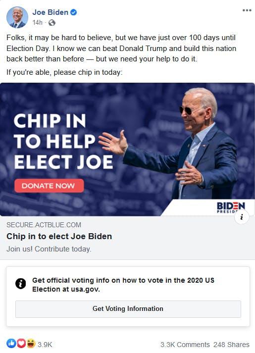 Joe Biden Facebook Election label