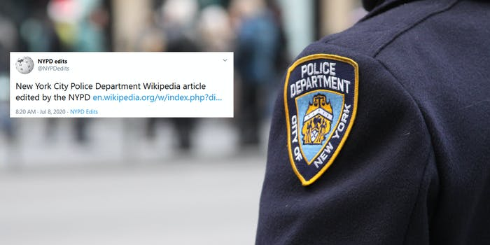 NYPD Wikipedia NYPDEdits Twitter