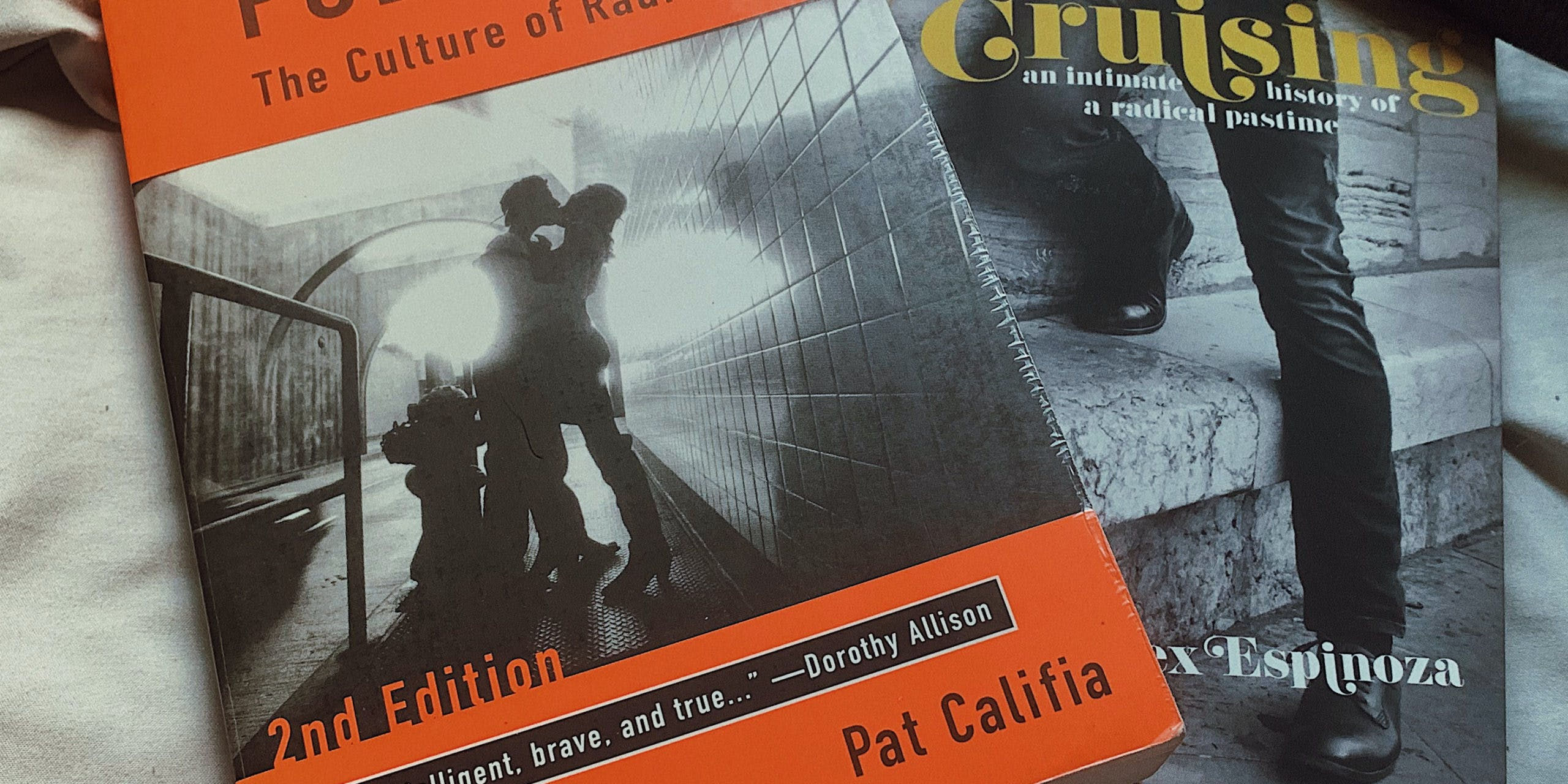 """A closeup of two formative texts on queer public sex: """"Public Sex"""" by Pat Califia and """"Cruising"""" by Alex Espinoza."""