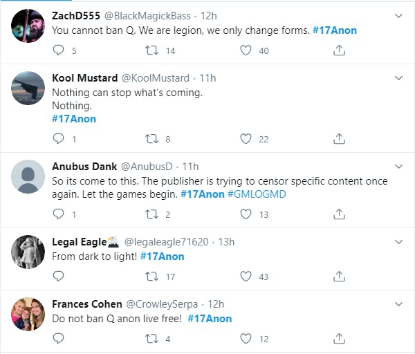 17anon, images of qanon trying to rebrand as 17anon on Twitter to avoid detection