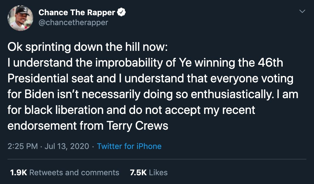 chance the rapper kanye west tweets
