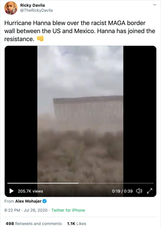 hurricane hanna maga wall