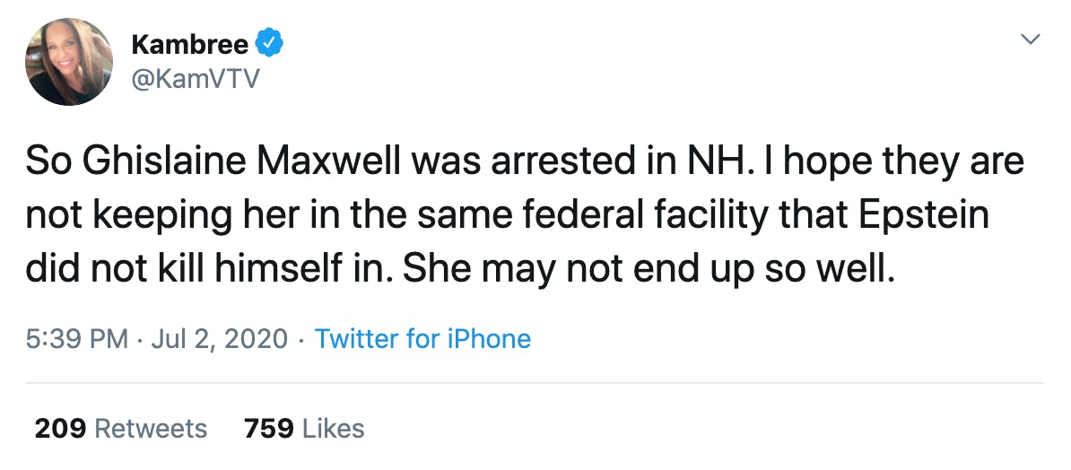 So Ghislaine Maxwell was arrested in NH. I hope they are not keeping her in the same federal facility that Epstein did not kill himself in. She may not end up so well.
