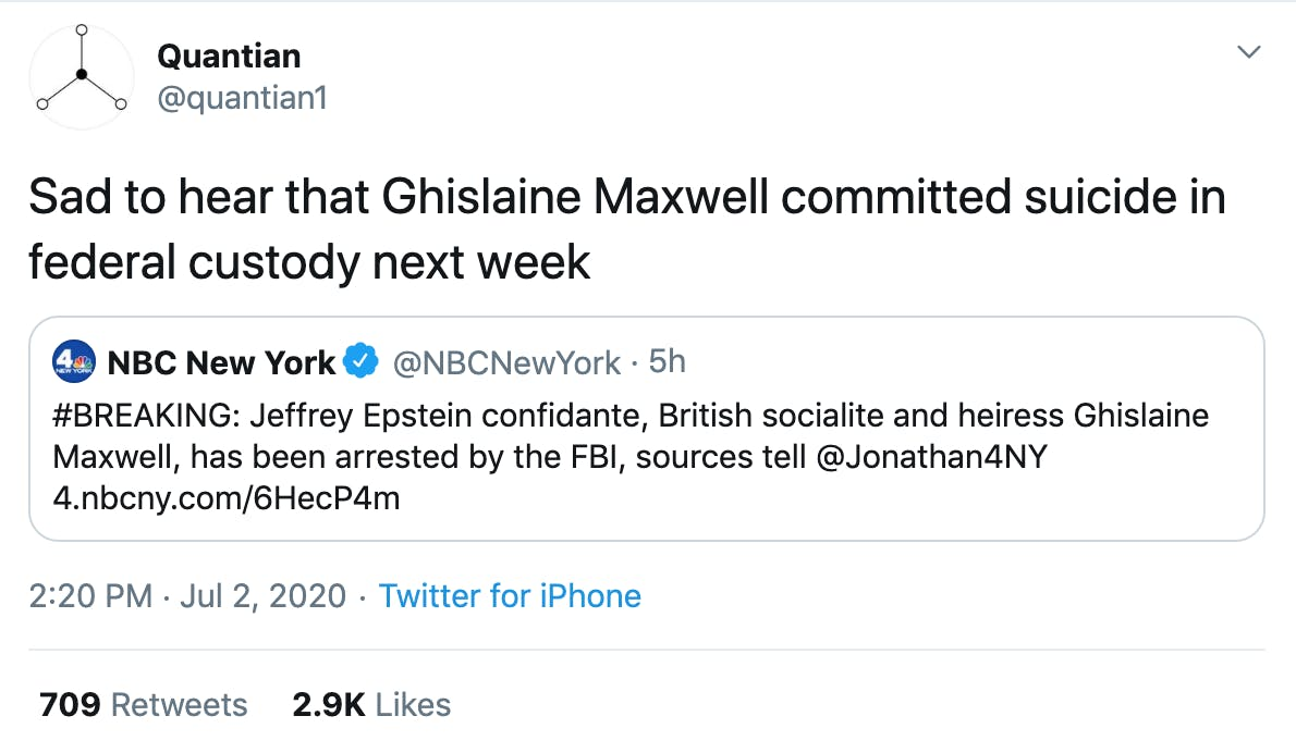 Sad to hear that Ghislaine Maxwell committed suicide in federal custody next week