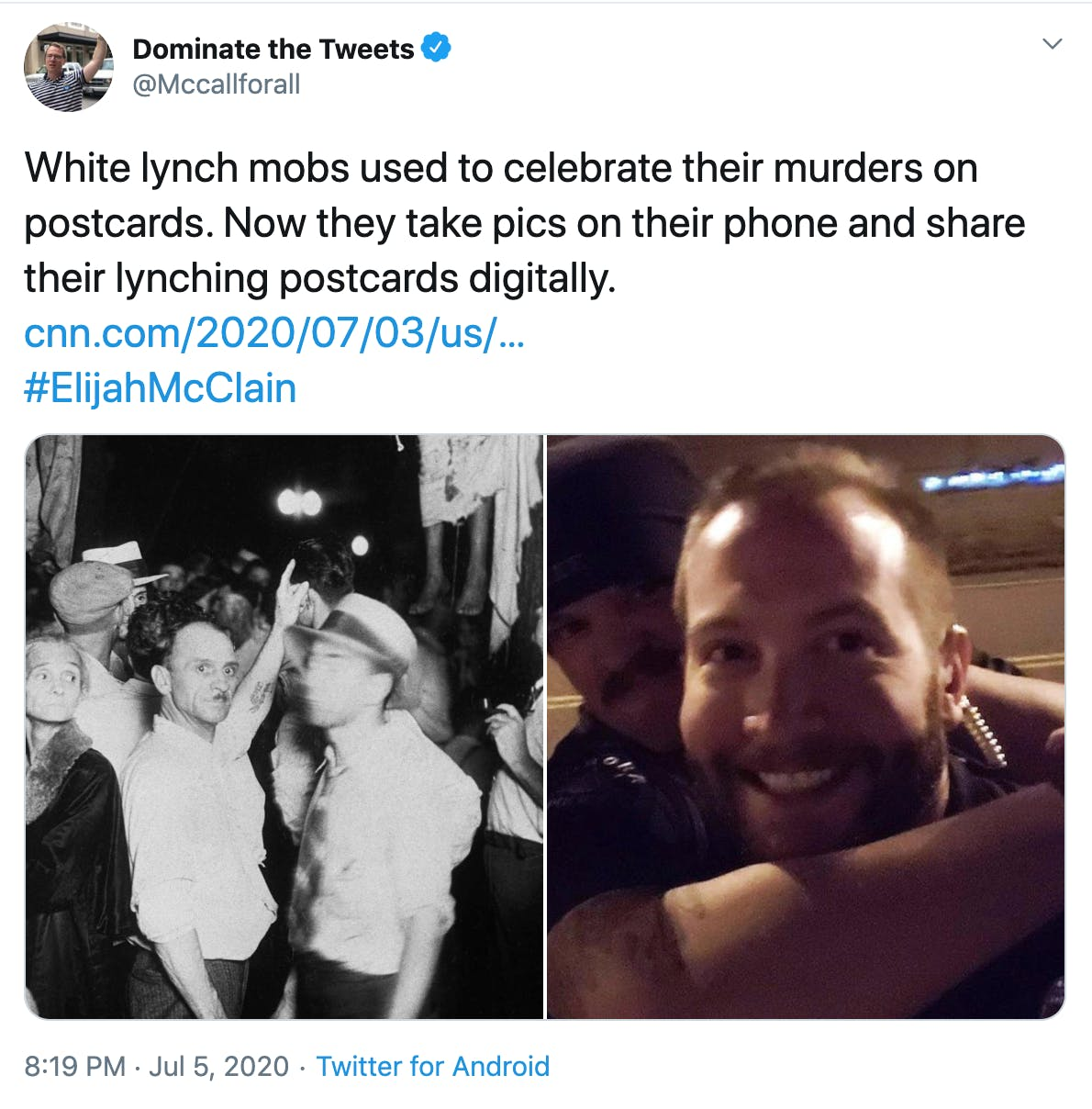 """""""White lynch mobs used to celebrate their murders on postcards. Now they take pics on their phone and share their lynching postcards digitally."""" picture of lynching crowd next to the police selfies"""