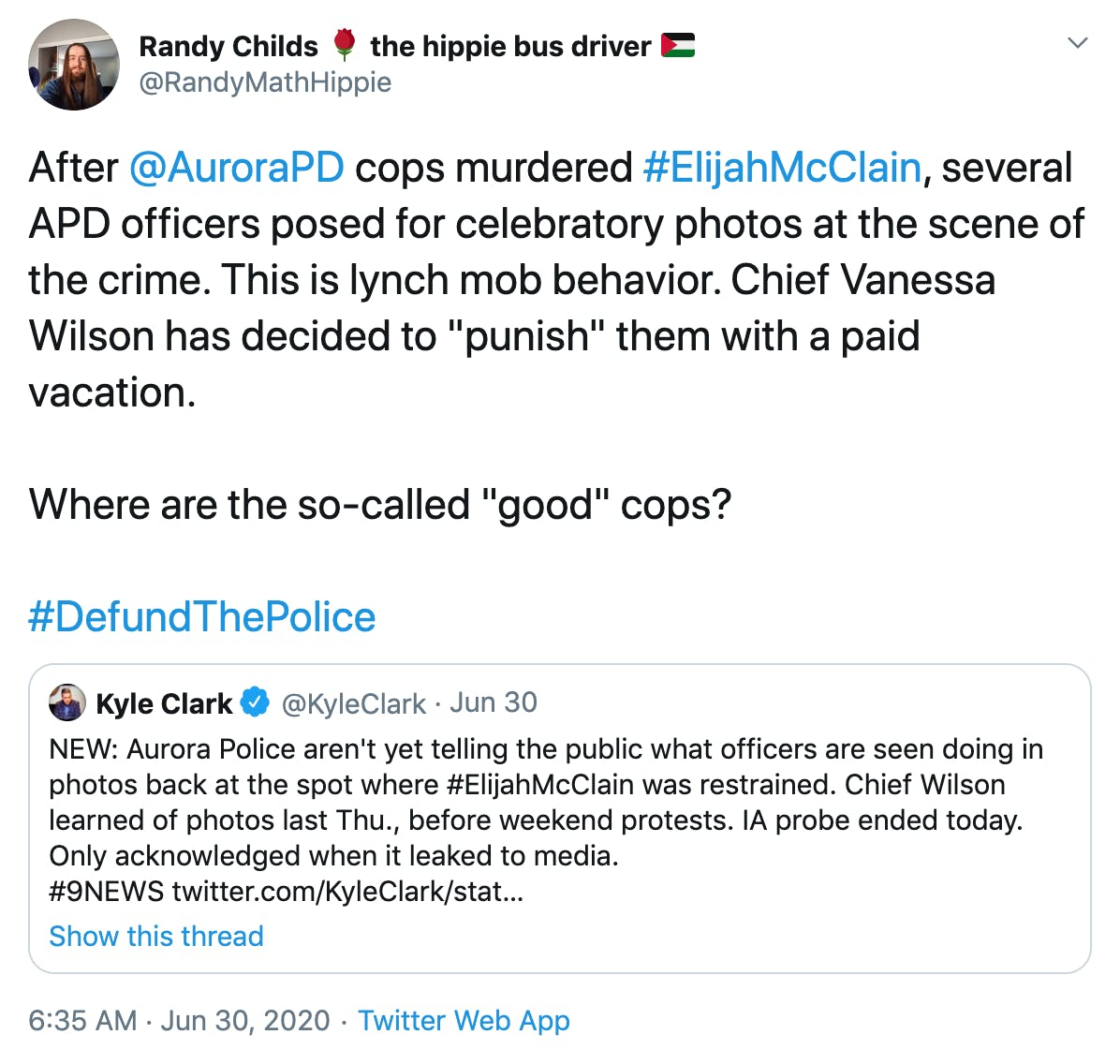 """After  @AuroraPD  cops murdered #ElijahMcClain, several APD officers posed for celebratory photos at the scene of the crime. This is lynch mob behavior. Chief Vanessa Wilson has decided to """"punish"""" them with a paid vacation.  Where are the so-called """"good"""" cops?"""