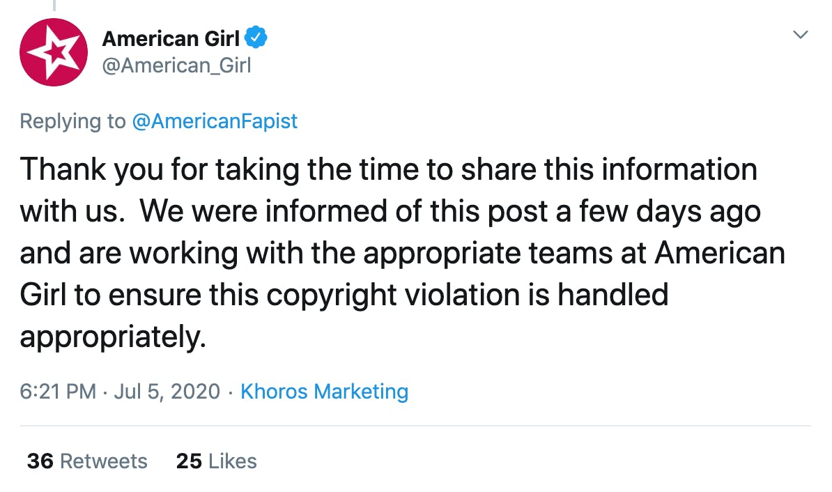 Thank you for taking the time to share this information with us.  We were informed of this post a few days ago and are working with the appropriate teams at American Girl to ensure this copyright violation is handled appropriately.