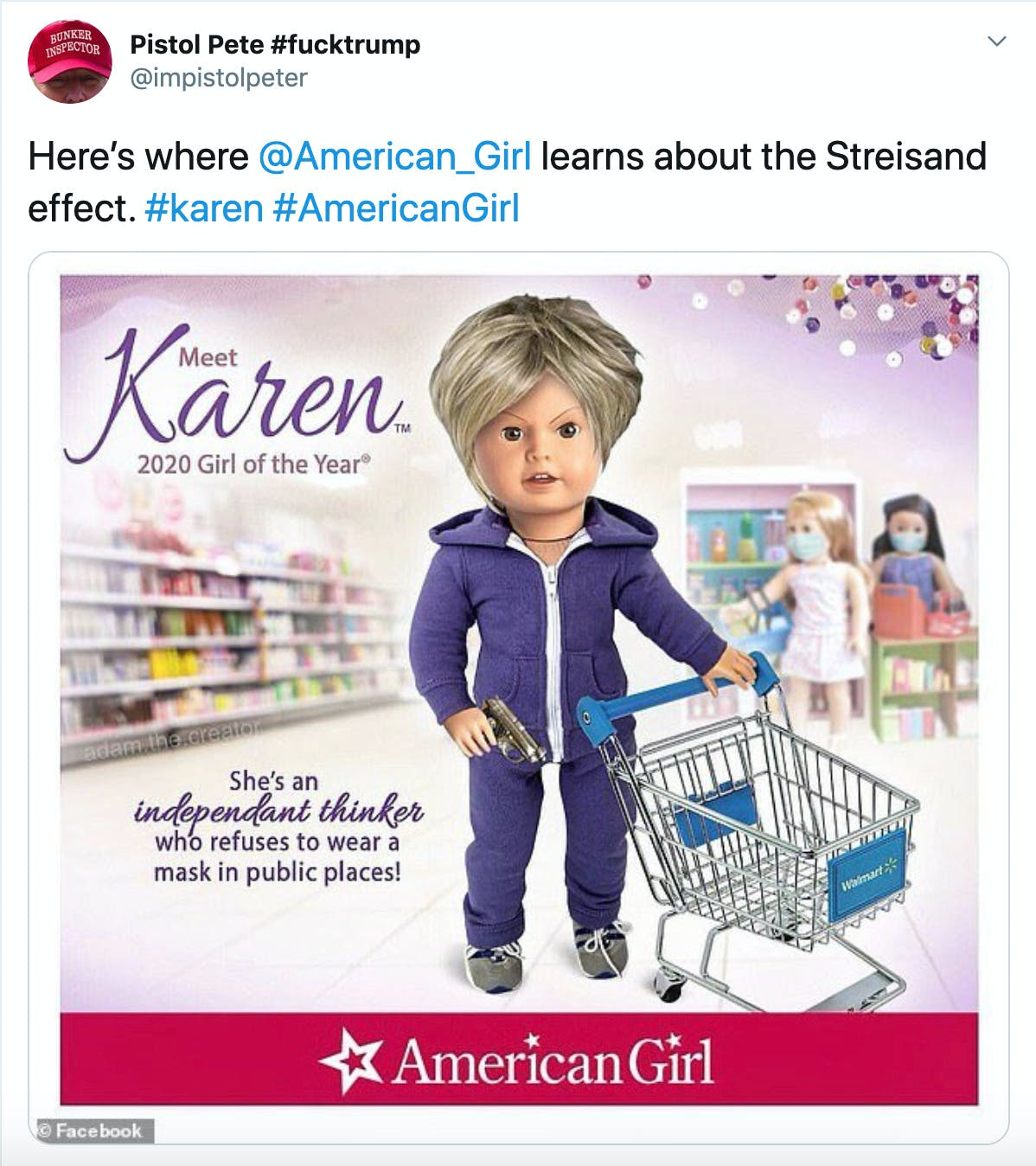 """""""Here's where  @American_Girl  learns about the Streisand effect. #karen #AmericanGirl"""" Padilla's meme"""