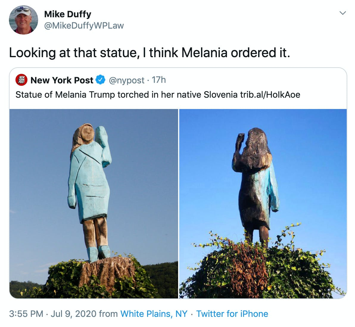 """""""Looking at that statue, I think Melania ordered it."""" over before and after pics"""