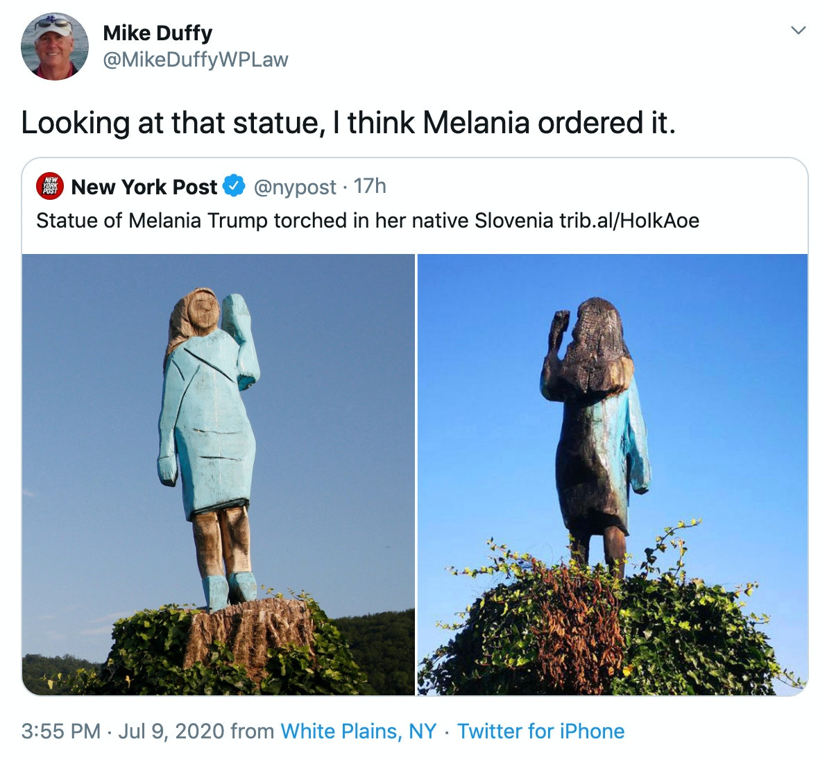 Wooden Melania Statue In Slovenia Removed After Someone Burned It