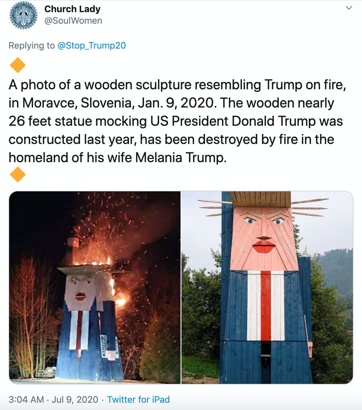 """""""A photo of a wooden sculpture resembling Trump on fire, in Moravce, Slovenia, Jan. 9, 2020. The wooden nearly 26 feet statue mocking US President Donald Trump was constructed last year, has been destroyed by fire in the homeland of his wife Melania Trump."""" over image of blocky wooden Trump sculpture and a second image of it on fire"""