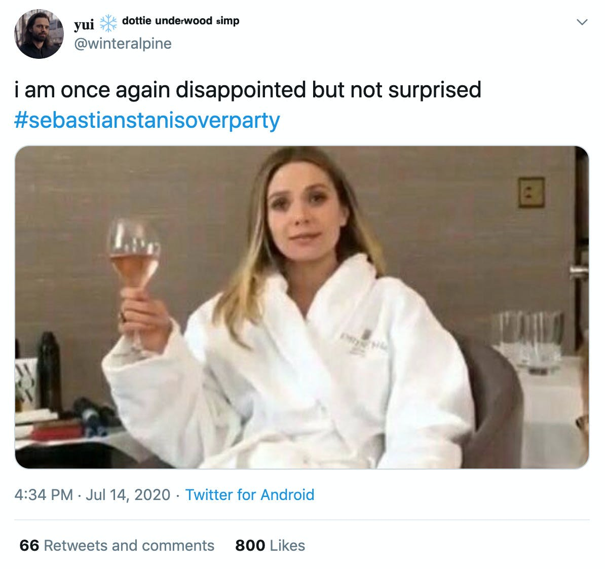 """""""I am once again disappointed but not surprised"""" gif of Elizabeth Olsen drinking wine in a bath robe"""