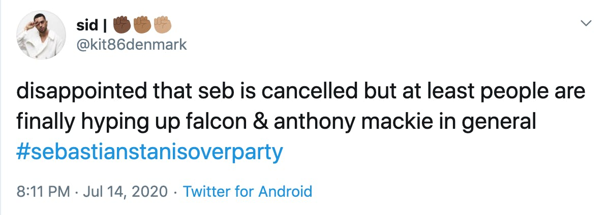 disappointed that seb is cancelled but at least people are finally hyping up falcon & anthony mackie in general #sebastianstanisoverparty