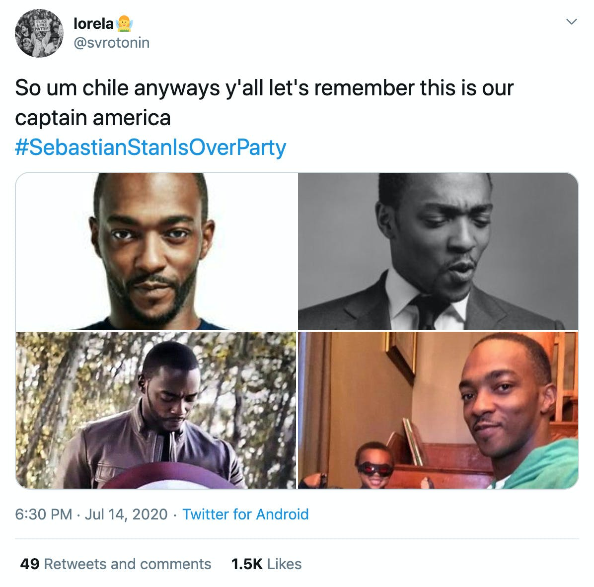 """""""So um chile anyways y'all let's remember this is our captain america #SebastianStanIsOverParty"""" four pictures of Anthony Mackie"""