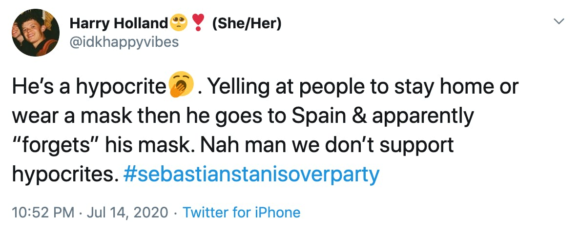 """He's a hypocrite🥱. Yelling at people to stay home or wear a mask then he goes to Spain & apparently """"forgets"""" his mask. Nah man we don't support hypocrites. #sebastianstanisoverparty"""