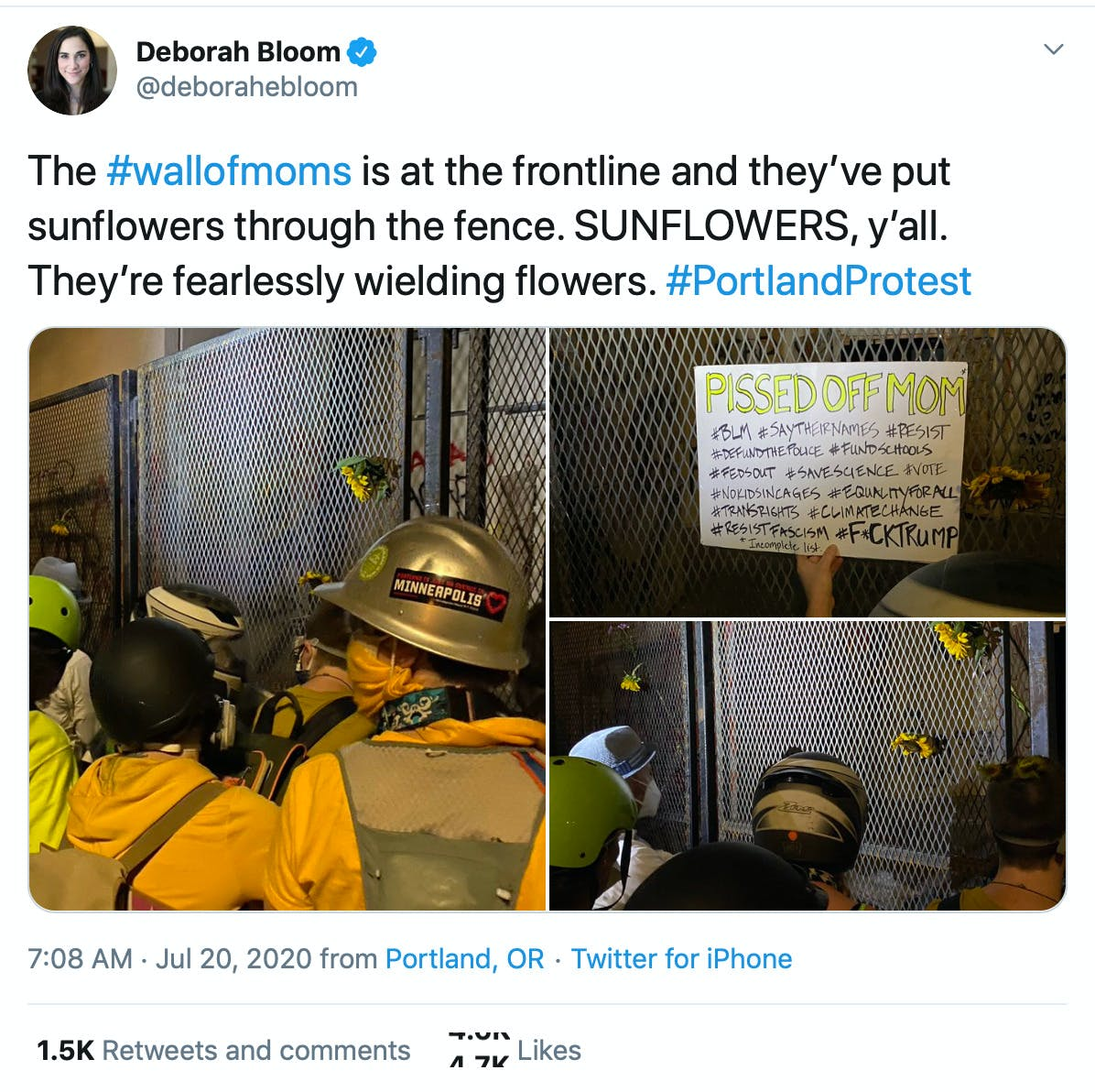 The #wallofmoms is at the frontline and they've put sunflowers through the fence. SUNFLOWERS, y'all. They're fearlessly wielding flowers. #PortlandProtest