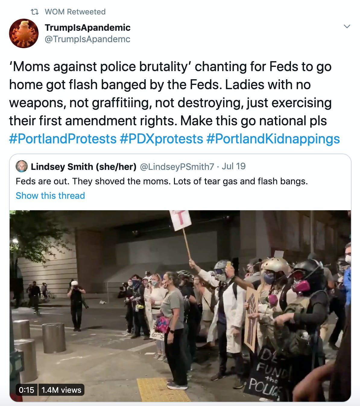 'Moms against police brutality' chanting for Feds to go home got flash banged by the Feds. Ladies with no weapons, not graffitiing, not destroying, just exercising their first amendment rights. Make this go national pls #PortlandProtests #PDXprotests #PortlandKidnappings