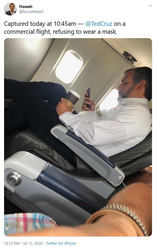 Ted Cruz No Mask Airplane