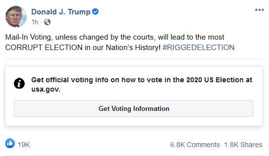 Trump Facebook Election Label