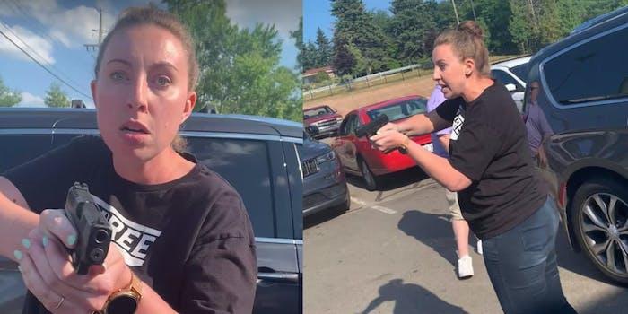 white woman holds black family gunpoint