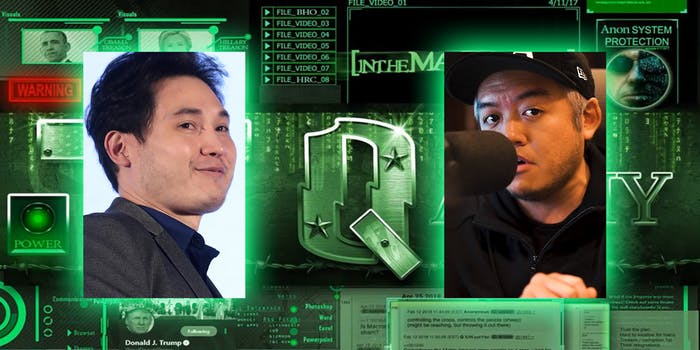andy ngo and ian miles cheong over qanon background
