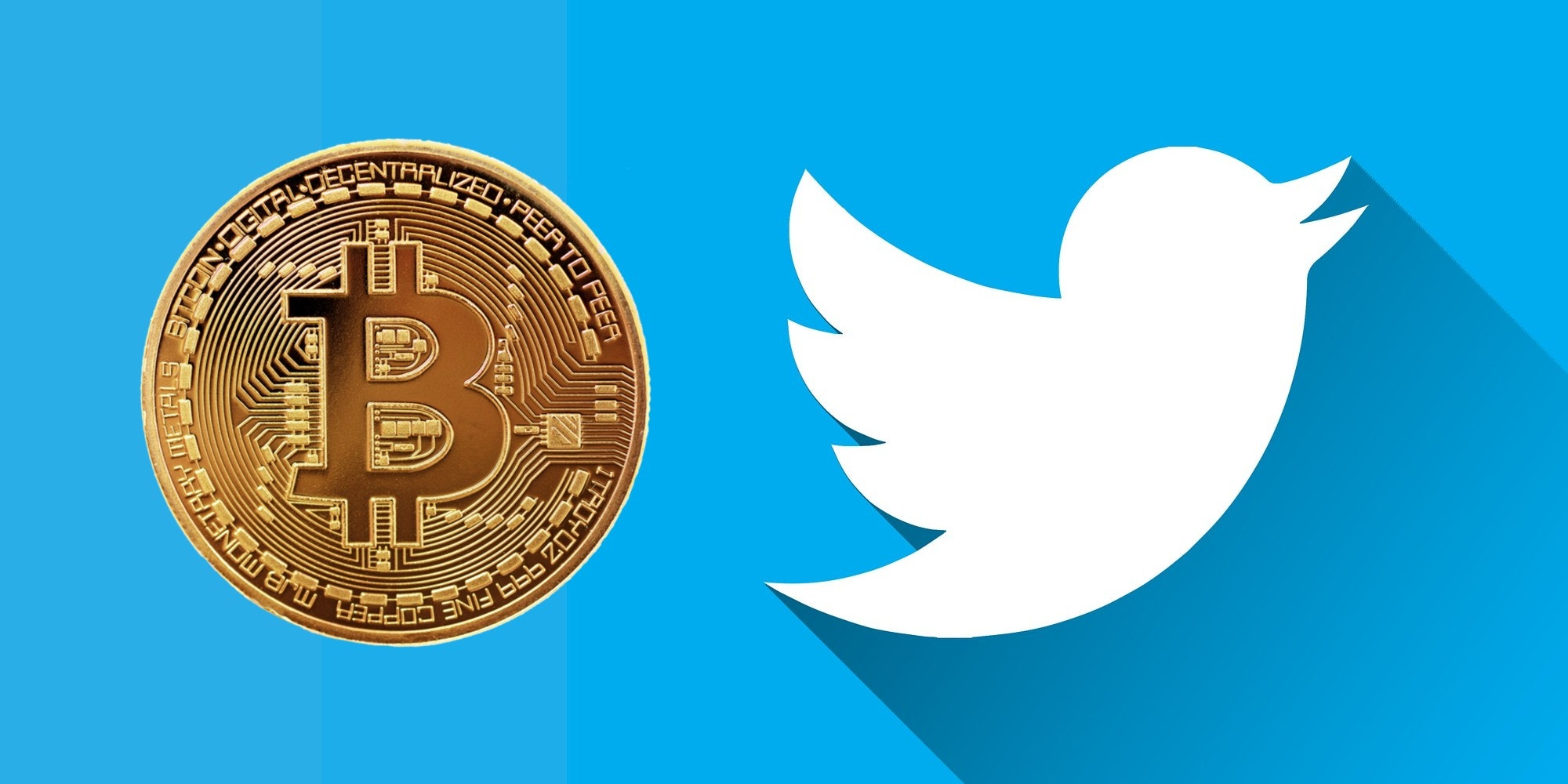 A bitcoin next to the Twitter logo