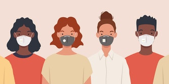 Group of people wearing medical masks to prevent disease