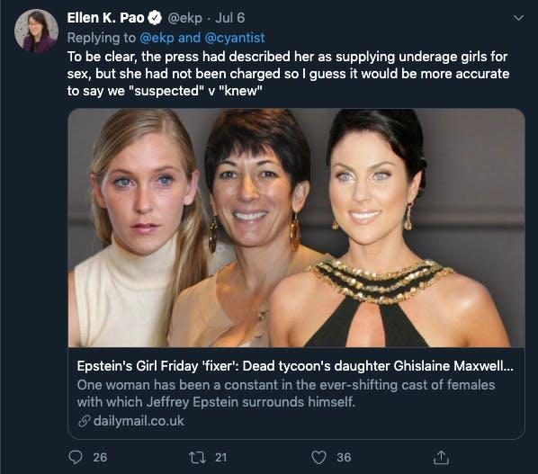 Ellen Pao Ghislaine Maxwell tweets