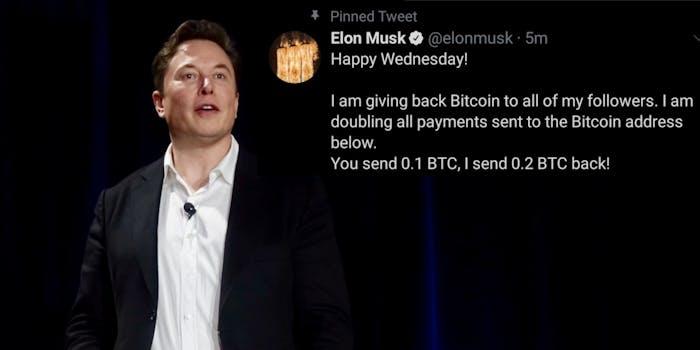 Elon Musk next to a scam tweet