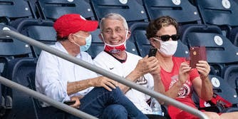 Fauci with mask down at Nationals game