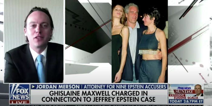 Picture of attorney next to cropped photo of epstein