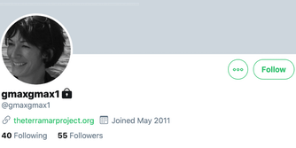Ghislaine Maxwell's Twitter profile