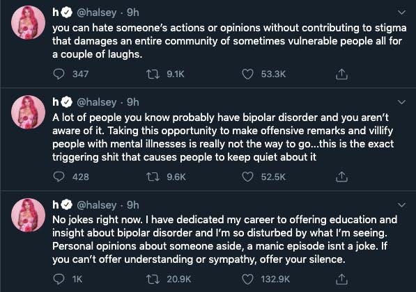 Halsey Kanye tweets