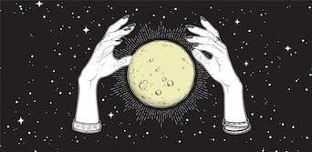 hands hexing the moon