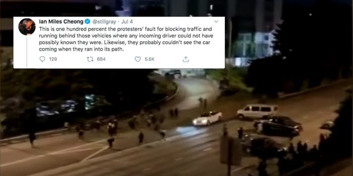 A tweet from Ian Miles Cheong over footage of a hit-and-run in Seattle
