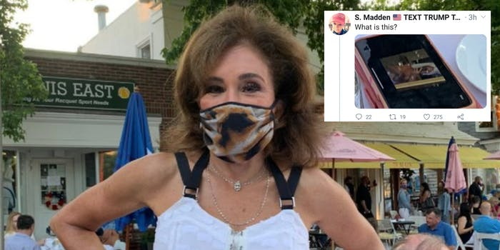 Jeanine Pirro in a mask next to a tweet about her cell phone