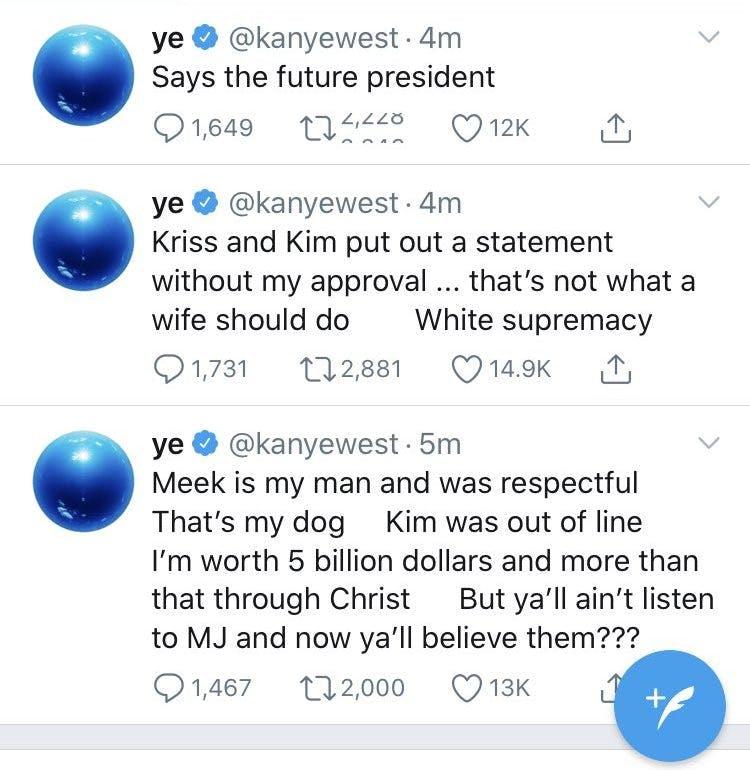 Kanye divorce tweets 2