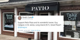 """""""Support Patio Pizza and its wonderful owner, Guy Caligiuri, in St. James, Long Island (N.Y.). Great Pizza!!! @Varneyco"""" tweet over Patio Pizza storefront"""