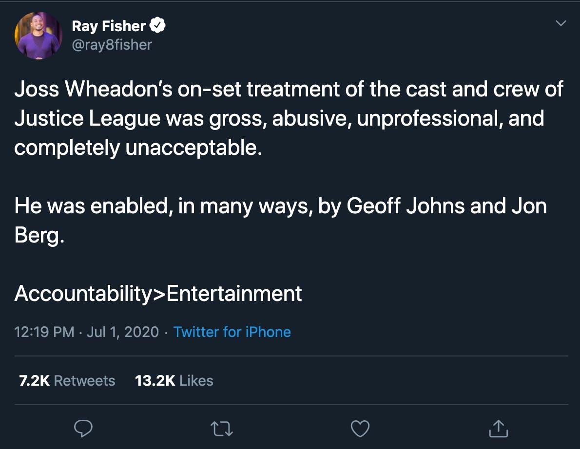 ray fisher joss whedon tweet