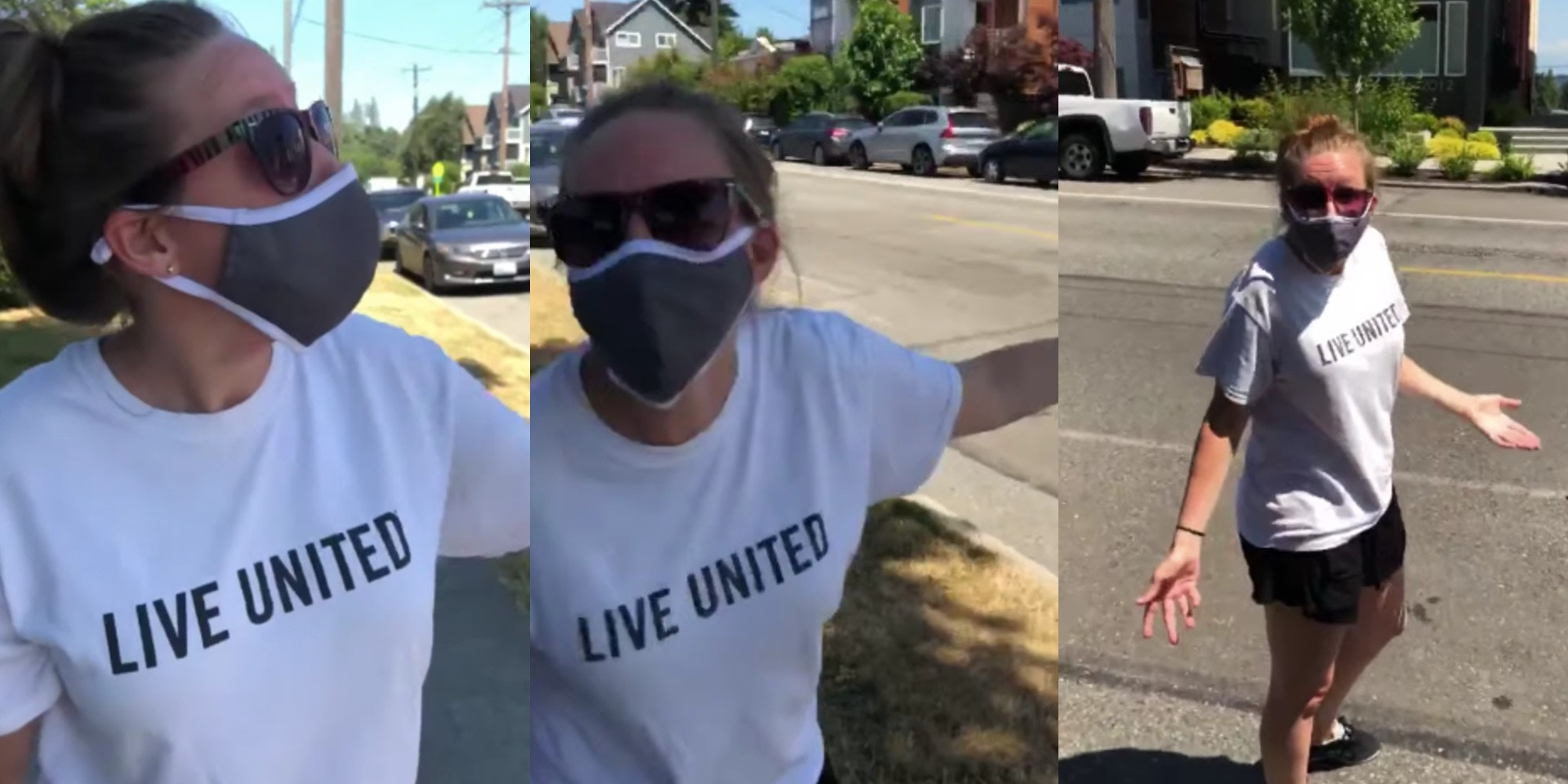 white woman yelling at Black man for flying drone