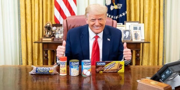 President Donald Trump in the Oval Office with beans
