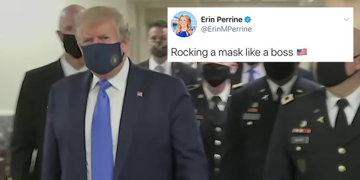 President Donald Trump in a face mask next to a tweet praising him
