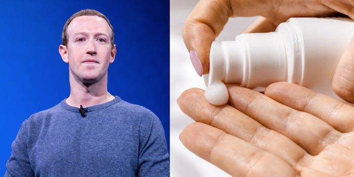 Mark Zuckerberg and lotion