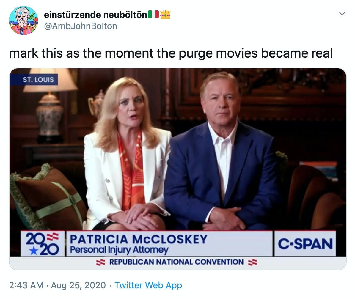 """mark this as the moment the purge movies became real"" still from the McCloskey's speech"