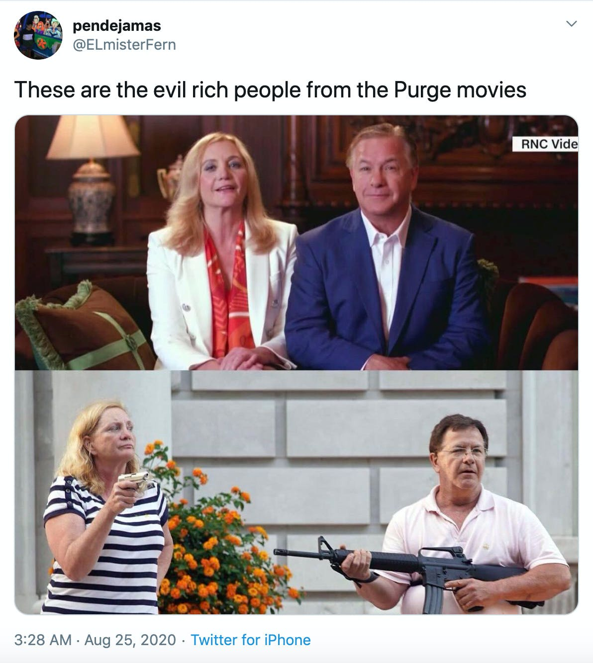 """These are the evil rich people from the Purge movies"" Image of Mark and Patricia McCloskey from the RNC on top of image of them pointing guns at protesters"