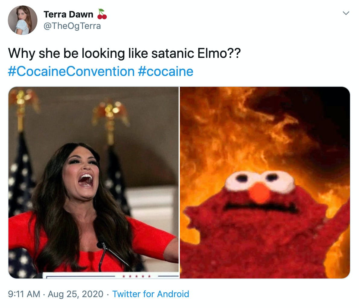 """Why she be looking like satanic Elmo?? #CocaineConvention #cocaine"" Image of Guilfoyle next to the Elmo against the backdrop of flames meme"