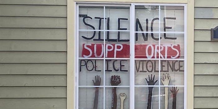 The window of a resident in Lake Oswego, Oregon