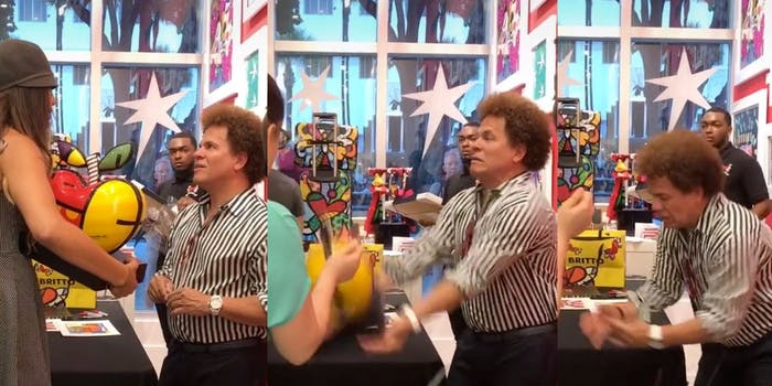 Video shows woman smashing Romero Britto's artwork in front of him