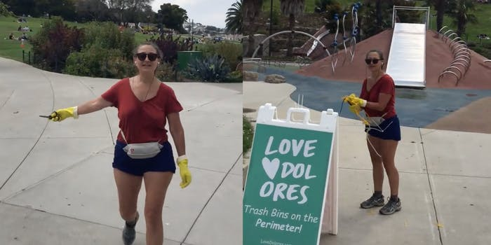 A mask-less Karen is seen approaching a park employee while holding out a pair of scissors