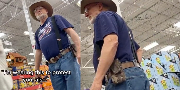 Man carrying a gun not wearing a mask confronted in supermarket